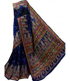 Blue Silk Kantha Work Designer Saree