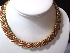 SHINY BRIGHT GOLD TONE METAL RED ENAMEL MODERNIST MONET SIGNED NECKLACE CHOKER  #Monet