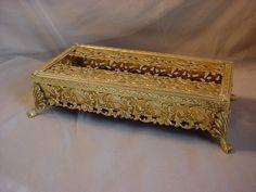 Vintage Regency Tissue Box Holder Ornate Gold tone metal Footed Claw Feet Seller florasgarden on ebay