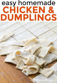 chicken and dumplings recipe! It's easy to make and so delish! Homemade dumplings are simmered in a flavorful chicken broth. Homemade Chicken And Dumplings, Dumplings For Soup, Dumpling Recipe, Chicken Pastry Recipe Homemade, Recipe For Chicken And Dumplins, Old Fashioned Dumplings Recipe, Home Made Dumplings Recipe, Drop Dumplings, Restaurant