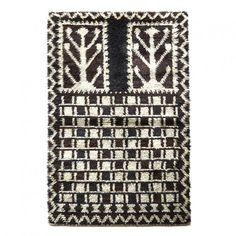 Swedish rya with abstracted trees and checker in brown, blue and ivory Rya Rug, Swedish Style, Rug Hooking, Fabric Art, Art Forms, Textile Art, Anonymous, Scandinavian, 1960s