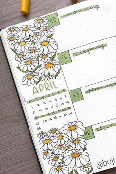 Best Daisy Bullet Journal Spread Inspiration For 2020 - Crazy Laura - - If you want to give your layouts a warm weather, floral vibe this month, check out these super cute daisy bullet journal spreads for inspiration! Bullet Journal Inspo, Bullet Journal Spreads, Bullet Journal Banner, Bullet Journal Writing, Bullet Journal Cover Page, Bullet Journal School, Bullet Journal Aesthetic, Bullet Journal Ideas Pages, Bullet Journal Layout