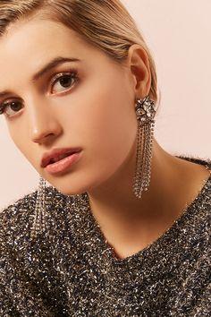 Faux Crystal Duster Earrings