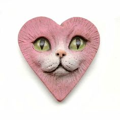 Pink Heart Love Cat Face Cab Polymer Clay by graphixoutpost, $11.00