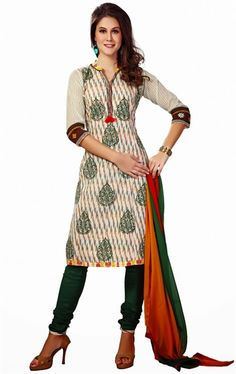 Picture of Wonderful Off White and Green Color Casual Salwar Kameez