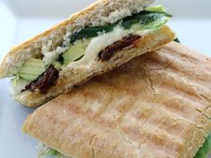 Avocado Panini with Brie, Mozzarella, Sun Dried Tomatoes, and Basil