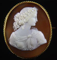 Extra-fine Victorian Signed 14k X-Large Goddess Flora Cameo
