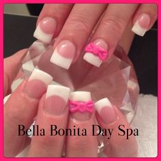 Gel nails with sculpted 3D bows