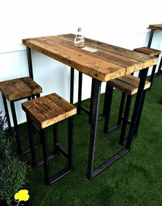 Reclaimed Industrial 4 Seater Chic Tall Poseur Table – Bar Cafe Restaurant Wood Steel Metal Hand Made Bespoke 346 - Modern Wood And Metal Desk, Metal Stool, Metal Desks, Wood Steel, Metal Chairs, Wood Desk, Metal Bar Stools, Wooden Chairs, Steel Bar