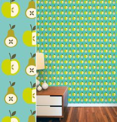 Huisraad en meer....: kleurrijk behang apple wallpaper scandinavian style pinned by www.funkyfabrix.com.au
