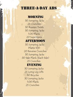 Three-a-day abs. Morning, afternoon, and night. The workout isn& nearly as painful if you split it up into three 5 minutes sets! Summer Body Workouts, Cheer Workouts, Easy Workouts, Mini Workouts, Yoga Workouts, Workout Routines, Workout Gear, Quick Morning Workout, Night Workout