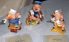 "Walt Disney Collection ""Three Little Pigs""All 3 Figurines Have Certificates Mint 