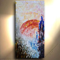 ORIGINAL City sunset Painting Landscape Sun Abstract woods treescape forest park new york Modern Contemporary Heavy Texture Painting by OTO