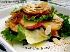 """Thousand leaves"" salad with apple, prosciuto and cheese"