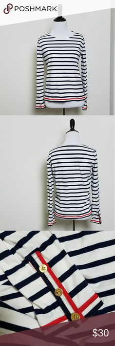 J. Crew Grossgrain Ribbon Striped Nautical Shirt Red, white, and blie ribbon trim on the bottom hem and the sleeves  3 Gold anchor buttons on each sleeve J. Crew Tops Tees - Long Sleeve