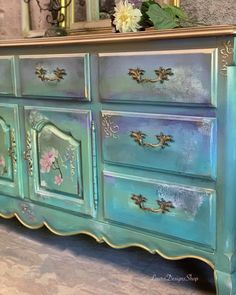 Painted Furniture - Furniture Redesign by LauraDesignsShop Bohemian Furniture, Country Furniture, French Furniture, Farmhouse Furniture, Home Decor Furniture, Furniture Makeover, Teal Painted Furniture, Chalk Paint Furniture, The Doors