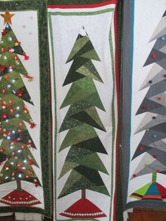 End of bolt sale 025 Christmas Tree Quilt Pattern, Christmas Applique, Christmas Quilting, Tall Christmas Trees, Quilted Christmas Stockings, Christmas Crafts, Christmas Decorations, Xmas, House Quilts