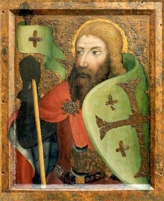 Portrait painting of a knight by Meister Theodoric of Prague, circa Czech Republic. Santa Ines, Crusader Knight, Medieval Paintings, Arm Armor, Medieval Armor, Dark Ages, Interesting Faces, Pilgrim, Artist Painting