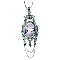 Swarovski Crystal Victorian Purple Cameo Crown Pendant Necklace All Things Purple, Lobster Clasp, Swarovski Crystals