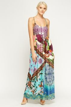 Summer fashion, great for holidays or festivals ~ Mixed Print Maxi Dress