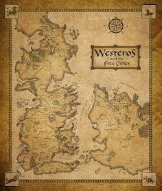 """Mapa de """"Westeros"""", el continente donde se desarrolla la serie de libros """"Canción de hielo y fuego"""" / A map of the """"Westeros"""", where """"A song of Ice anf Fire"""" takes place."""