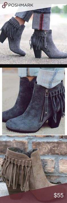 ❤️NEW IN❤️ Tassel Fringe Back Zip Booties Well hello fall! These fabulous booties are so adorable and look perfect with your mini dresses or your Skinnies! The perfect go to! Super comfy. Faux suede. Fits true to size. Available in 3 colors! Preorders are available. Shipping 9/14. Shoes Ankle Boots & Booties
