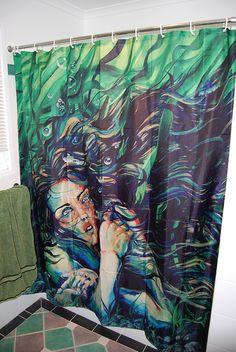 RW2 SHOWER CURTAIN Art Mermaid Green Fantasy Azorie