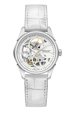 Hamilton Jazzmaster Viewmatic Skeleton ladies' version. The watch is priced at $1,195.