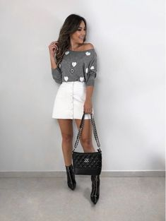 Tricot Love Mescla Estilo Girlie, Girly Outfits, Cute Outfits, White Denim Skirt, Casual Looks, Spring Outfits, Ideias Fashion, Couture, Womens Fashion