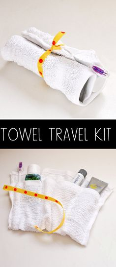 DIY towel travel kit. You can use it to keep your toiletries AND wash your face!
