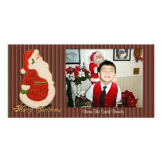 Merry Christmas Photo Santa cookie Personalized Photo Card