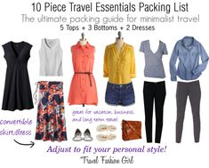 10 Piece Travel Essentials Packing List - pack light, cute, & carryon only! #travel #packinglist