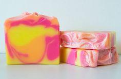Love Spell Soap Handmade Coconut Milk Cold Process Shea butter Vegan Pink Orange Yellow