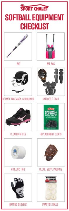 Prepare for thei season using this Softball Equipment Checklist. Find softball bats, softball bat bags, softball gloves and more online.