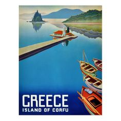 1954 Greece // Island of Corfu // Published by the National Toursit Organisation, Athens // High Quality Fine Art Reproduction Giclée Print by WiredWizardWeb on Etsy Vintage Prints, Vintage Posters, Greece Islands, Corfu, Greece Travel, Prints For Sale, Postcard Size, Travel Posters, Organisation