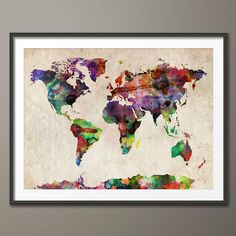 Watercolour Map Of The World Art Print