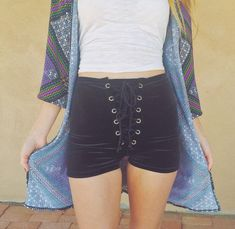 Solid Velvet Lace Up Shorts by HomeCookedKarma on Etsy