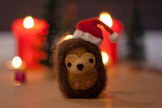 Needle Felted Hedgehog Ornament Harry by MiloandBen on Etsy