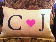 Romantic Burlap Pillow by ModernRusticGirl on Etsy