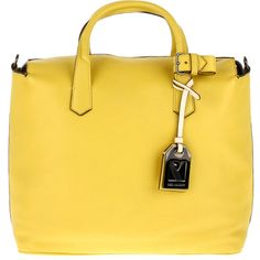 """REED KRAKOFF """"Gym Bag"""" ($970) ❤ liked on Polyvore featuring bags, handbags, tote bags, purses, bolsas, yellow, leather zipper tote, gym tote bags, handbags totes and structured leather tote"""