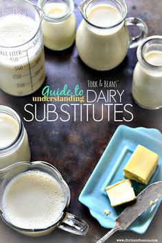 to Understanding Dairy Substitutes Take the confusion out of baking without dairy with this helpful Dairy Substitutions Guide.Take the confusion out of baking without dairy with this helpful Dairy Substitutions Guide. Lactose Free Recipes, Dairy Free Diet, Vegan Recipes, Gluten Free, Lactose Free Desserts, Dairy Free Cream, Milk Recipes, Copycat Recipes, Allergies Alimentaires