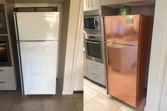 Tamworth woman transforms fridge with Kmart hack for stunning new rose gold look Refrigerator Makeover, Paint Refrigerator, Painted Fridge, Rose Gold Kitchen, Copper Kitchen, Copper Appliances Kitchen, Ugly Fridge, Fridge Decor, Kitchen Decor