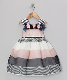 Take a look at this Bonny Billy Peach & White Stripe Rosette Dress - Toddler & Girls by Bonny Billy on #zulily today!