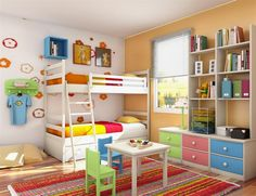 Sweet Little Boy Bedroom Design with Wooden Floor also Wall Sticker and Colorful Carpet Area also Amazing Bookcase and Colorful Drawers also White Frame Bed and Yellow Cushions and Ladder