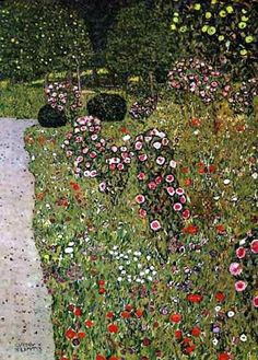 Klimt, Orchard with roses, 1911 Si, si. Klimt me subyuga Gustav Klimt, Klimt Art, Art Nouveau, Baumgarten, Vienna Secession, Monet, Land Scape, Art Photography, Art Gallery