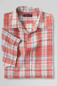 Men's Traditional Fit Short Sleeve Linen Plaid Shirt from Lands' End Madras Shirt, Tropical Fashion, Casual Wear For Men, Mens Sleeve, Workout Shorts, Lands End, Plaid, Mens Fashion, Egg Hunt