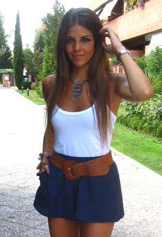 blue skirt white tank brown belt