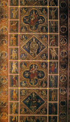 Sconosciuti pittori del 13 ° secolo - soffitto in legno (vista parziale) - chiesa di San Michele, Hildesheim