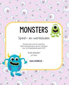 monsters, griezelen, kleuters, kinderboekenweek 2017, werkbladen