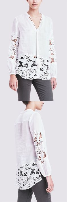 The Lydia blouse in white cotton and lace.
